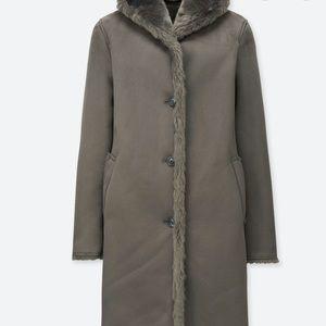 Uniqlo hooded faux shearling coat